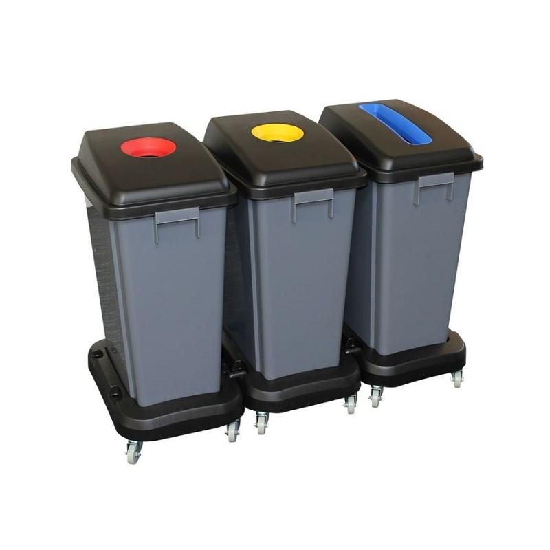 Zestaw trzech koszy do segregacji odpadów